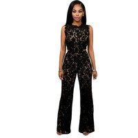 Sexy Black Lace Nude Illusion Back Cutout Jumpsuit Rompers