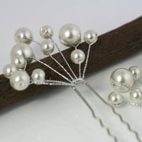 U-shaped pin w/ wire wrapped white pearls, vine shapped, bridal hair pin, wedding head piece, bride hair up do