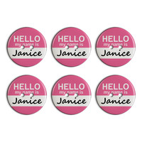Janice Hello My Name Is Plastic Resin Button Set of 6