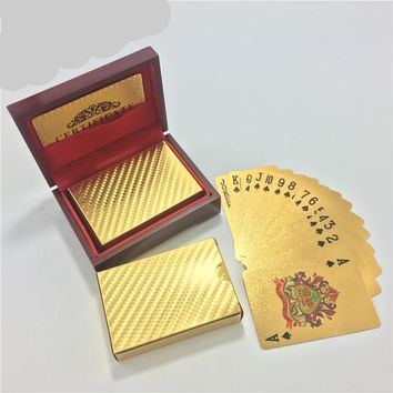 Wedding Gift 24k Gold Poker Card With Wooden Box