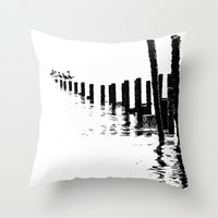 MONO SEA Throw Pillow by catspaws