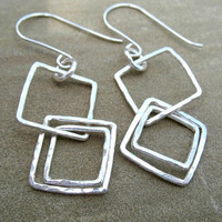 Geometric Square Earrings, Fine Silver, Sterling Silver Jewelry, Hammered Squares