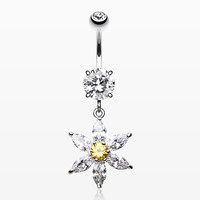 Glistening Flower Bliss Dangle Belly Button Ring
