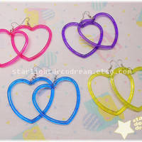 CHOOSE ONE PAIR Simple Heart Hoops for Fairy Kei Kawaii Decora