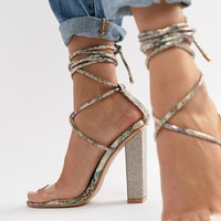 Simmi London Karla multi snake clear detail embellished heel tie up sandals at asos.com