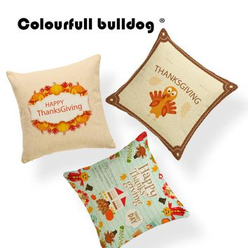 Turkey Pumpkin Spice Cushion Cover Maple Leaf Thanksgiving Pillow Case Home Decoration Gifts Dakimakura 17.7Inch Linen Painted