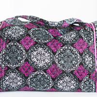 Fuchsia and Grey Quilted Cloth Duffle Bag