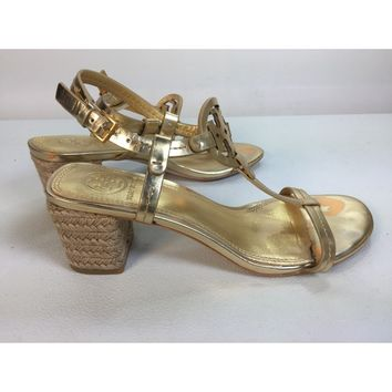 Tory Burch Gold Miller 65mm Espadrille Sandal, Size 6M