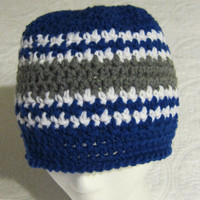 Crochet Sports NFL Inspired Beanie Dallas Cowboys in Adult Sizes !!!For The Next Month All Sports Hats Are On Sale For 12.00 Yeah!!! !