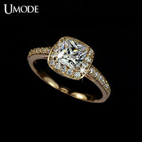 UMODE Gold-color 1.25ct Princess Cut Aneis Feminino Cubic Zirconia Bague Femme Married Rings for woman UR0013A