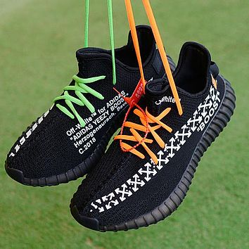 Adidas Yeezy Off White Contrast Shoes Women Men Sneakers Black+green orange laceup