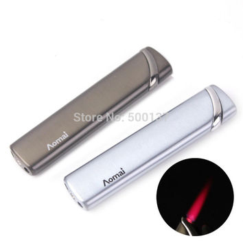 Classic Slim Lady/Man Metal Hot Pink Flame/Green Flame Windproof Cigarette Cigar Gas Lighter