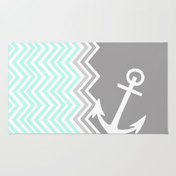 Nautical Chevron Rug by Sunkissed Laughter