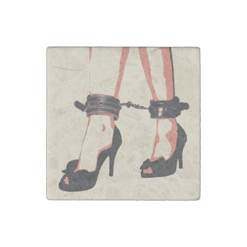 Bound feet, sexy heels and cuffs on legs red beige stone magnet