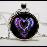 Dragon Heart  Necklace and pendant set -  Valentines Day jewelry -  Dragon Jewelry  - Dragon hearts
