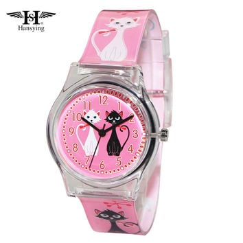 Hansying Brand MiNi Cat Design Women Quartz Waterproof Watch Ladies Girls Famous Brand Wrist Watch Clock Reloj
