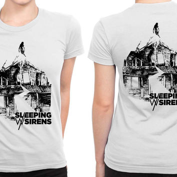 Sleeping With Sirens Logo Grayscale Black And White B 2 Sided Womens T Shirt
