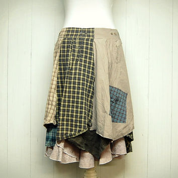 Size Large Tattered Cotton Skirt, Shabby Chic, Linen Skirt, Linen Ruffle, Mori Girl Skirt, Lagenlook Skirt, Earthy, Upcycled Clothing