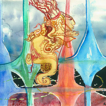 "Watercolor Painting ""Vision Quest"" Original Artwork Mayan Art Work Contemporary Art Abstract Paintings for Sale Canvas Prints Watercolour"