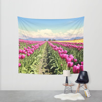 Tulip field Wall Tapestry by Sylvia Cook Photography