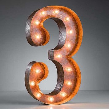 """24"""" Number 3 (Three) Sign Vintage Marquee Lights"""