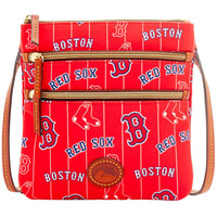 Boston Red Sox Dooney & Bourke Women's Team Color Nylon North/South Triple Zip Crossbody Purse - Red