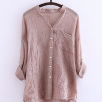 V-neck Long Sleeve Single Pocket Blouse
