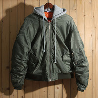 2017 Winter Vetements Thick Green Ma1 Jacket Hiphop Women Men Cotton-padded Oversized Jackets Coat Unisex Winter Clothes