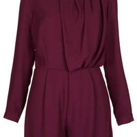 High Neck Pleat Playsuit - Rompers and Jumpsuits  - Clothing