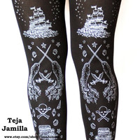 Pirate Printed Tights Plus Size Extra Large XL Silver on Black Women Tattoo Sailor Octopus Narwhal Squid Anchor