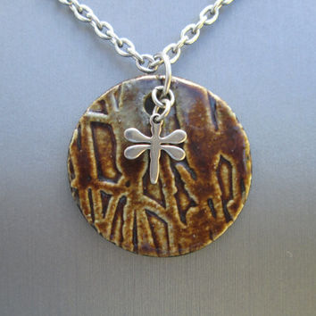 Ceramic Necklace, Dragonfly Necklace, Pottery Jewelry, Stainless Steel Necklace, Brown Pottery Pendant, Plant Necklace Round Pottery Pendant