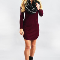 Red Wine Fit And Slim Long Sleeve Dress