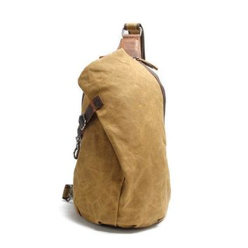 Ekphero Men Canvas Genuine Leather Crossbody Bag
