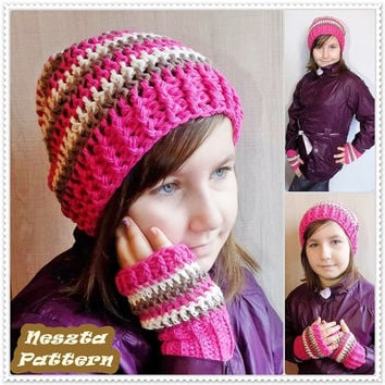Crochet hat, scarf, fingerless gloves pattern, crochet pattern, 2in1 set pattern, crochet hat pattern, crochet scarf pattern, child, adult