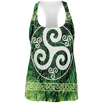 Celtic Triskelion Triskele Distressed All Over Womens Work Out Tank Top