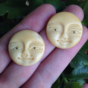 Set of Two Lovely Luna Yak Bone Full Moon Face Pendant Bead Cabochons