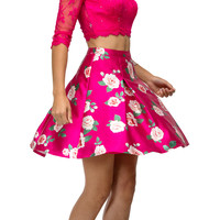 Floral Satin Skirt Mid Sleeves Lace Top Two Piece Prom Dress Fuchsia