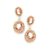 Peach Rose Gold Double Crystal Oval Statement Earrings