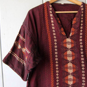 Cotton Dashiki Shirt Indian Ethnic Top Dark Red & Orange Tribal Embroidered Hand Stitched Textured Cotton Boho Tee  DES Mens Medium Large