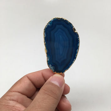 89 cts Blue Agate Druzy Slice Geode Pendant Gold Plated From Brazil, Bp1046