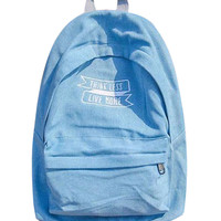 Blue Lightwash Letter Embroidered Backpack