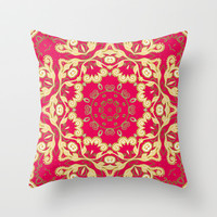 Cassy in Ruby Coral Throw Pillow by Lisa Argyropoulos