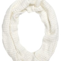 With Love From CA Eyelash Yarn Infinity Scarf - Womens Scarves - White - One