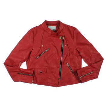 Bar III Womens Faux Leather Patched Together Motorcycle Jacket