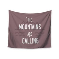 "Jackie Rose ""The Mountains Are Calling"" Purple Typography Wall Tapestry"