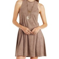 Stone Sleeveless Faux Suede Shift Dress by Charlotte Russe