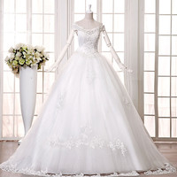 s 2016 new bride wedding dress autumn and winter dress slit neckline white 1.2 m long trailing plus size sexy fashion h9236 5958