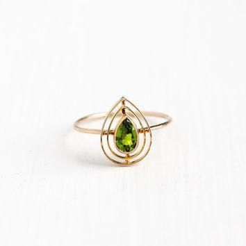 antique 10k rosy yellow gold simulated peridot stick pin conversion ring vintage art