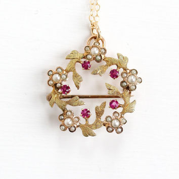 Antique 10k Yellow Gold Simulated Ruby & Seed Pearl Flower Wreath Pendant Necklace - Edwardian 1900s Pink Stone Fine Jewelry Brooch Pin
