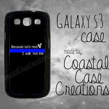 Thin Blue Line Heart Quote Samsung Galaxy S3 Hard Plastic or Rubber Cell Phone Case Cover Original Design